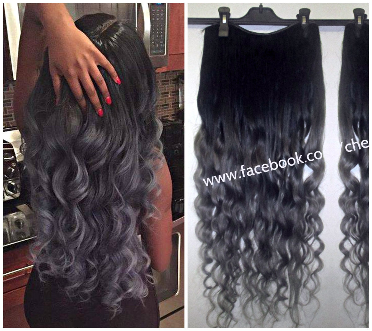 1b Off Black Into Grey Steel Hair Extensions Dip Dye 8a Remy