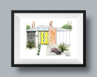Singapore Sling - Mid Century Modern Architecture Rendering Print, Hand Sketch, Watercolour, Palm Springs, California