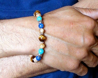 Mens Stone Bracelet, Blue Lapis, Turquoise, Tiger Eye, Jasper, Beaded Bracelet, Handmade Mens Jewelry