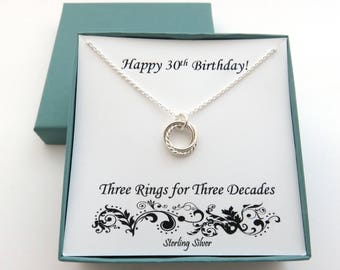 30th Birthday for Her, Textured Sterling Silver Necklace, 30th Birthday Gift, Three Rings for Three Decades, Silver Ring Necklace, 3 Rings