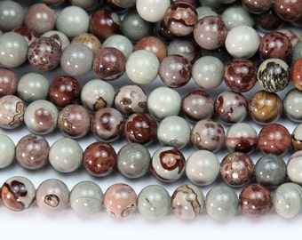 Natural Artistic Jasper Beads, 8mm Round - 15 inch Strand - eGR-JA183-8
