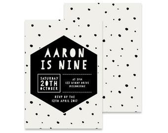 Printable 9th Birthday Invitation | Indie | Printable DIY Invite, Affordable Invitation, Digital Invite, Boys Monster Invitation