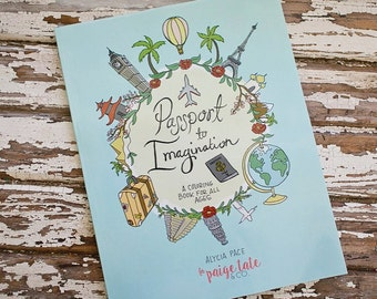 Travel Theme Adult Coloring Book, Passport to Imagination, Colouring, Sketchbook, craft, DIY, draw, sketch, art, coloring page, gift idea