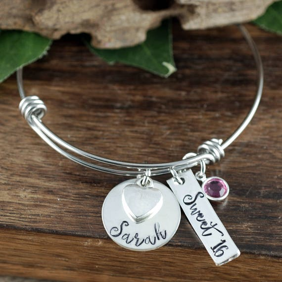 Sweet 16 Bracelet, Personalized Sweet 16 Jewelry, Sweet 16 Gift, Gift for Teenager, 16th Birthday Gift, Hand Stamped, Charm Bracelet