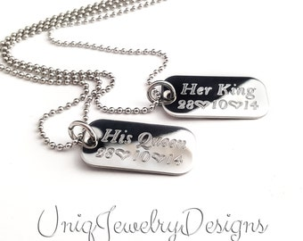 His and Hers + Personalized Couples Mini Dog Tag + Her King His Queen + Couples Gift Set + Anniversary Gift + Couples jewelry Set