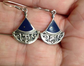 Blue Lapis and Sterling Silver Earrings