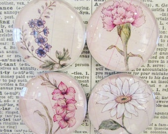 Floral Magnet Set of Four - Handcrafted Glass Magnet Set - Rare Earth Magnet - Daisy - Carnation - Larkspur - Gladiolus - Gift for Friend