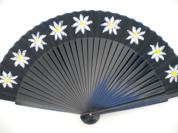Daisy Chain Hand Fan Black SIZE OPTIONS Hand Painted Handheld Wooden Fabric Hand Fan by Kate Dengra Spain