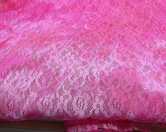 Neon pink stretchy lace fabric,Z-900,neon pink stretch lace,pink stretch fabric,pink stretchy lace fabric,crafting project, costume making