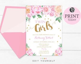 Twin Girls Baby Shower Invitation chevron twins invitation