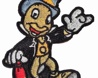 "Jiminy Cricket Embroidered 3 1/2"" Tall Iron on PATCH"