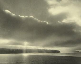 Coastal photography. Beach decor photo. Moody Puget Sound seascape. Dreamy Northwest art, light rays through clouds. Illumination