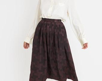 80s Plum Tetris Shine Skirt XS