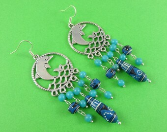 Dolphin Chandelier Earrings - silver leaping dolphin, dangly rustic beads, turquoise blue teal, ocean sea marine, porpoise earrings, seapunk