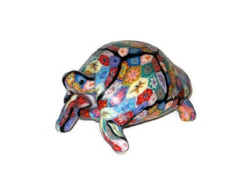 Millefiori Wax Turtle Candle Figurine Tortoise Figure Colorful Floral Motif One of a Kind Vintage Reptile Larger Heavy