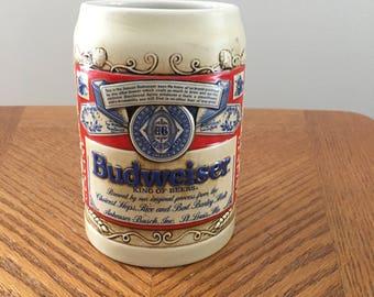 """Vintage 1989 Budweiserr beer stein """"Mug Label"""" full relief"""