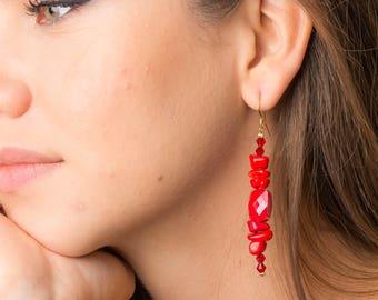 Earrings red, gold, semi-precious stones, summer.