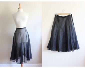 Vintage 1990s Black Silk Organza Sheer Midi Skirt