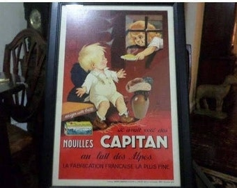 """REDUCED Vintage 1930 Original Vintage French Poster for """"Nouilles Capitan"""" by Jacques Saignier Professionally Framed"""