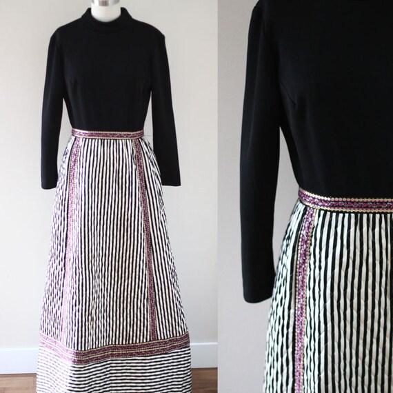 1960s black maxi dress // 1960s quilted dress // vintage dress