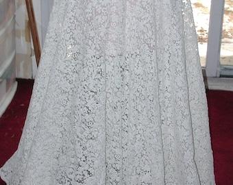No. 100 Antique/Vintage Cotton Alencon Lace Complete Bridal Skirt, Excellent
