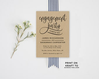 Engagement Party Invitation Template | Editable Invitation Printable | Engagement Party Invite Calligraphy, Kraft | No. EDN 5335