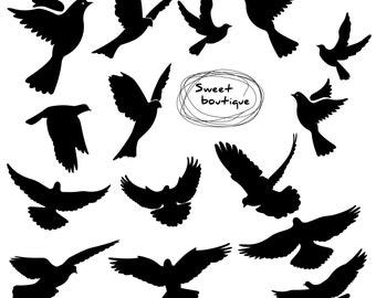 Birds Silhouette, Digital Bird Clip Art, Clipart Bird, Bird Silhouette Clipart, Wedding Bird clipart, Animal clipart, bird clip art 0313