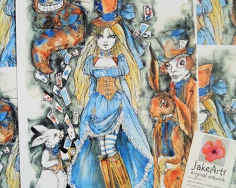 Steampunk, Alice in Wonderland, art print, steampunk art, March Hare, Mad Hatter, Cheshire Cat, White Rabbit, gift for her, gift idea, Alice
