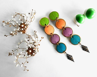 Three Pairs of Modernist Earrings
