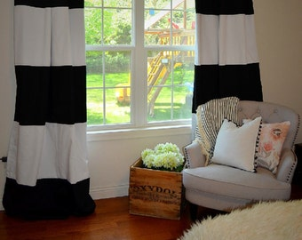 Custom Black And White Striped Curtains, Stripes, Color Blocked, Nursery  Curtains, Striped