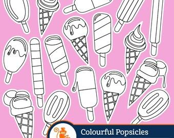 Ice Cream Popsicles digital  stamp, ice cream clipart, ice cream vector, vector graphics, digital stamp, digital images, desert clipart,