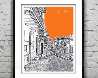 20% OFF Memorial Day Sale - San Juan Puerto Rico Skyline Poster Art Print Version 4