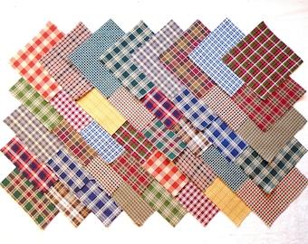 HOMESPUN PLAIDS 4 inch Squares, 100% cotton, Prewashed Quilt Fabric (stk#77C)