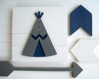 Teepee Nursery . Teepee . Modern Nursery . Teepee Sign . Tribal Nursery . Wood TeePee  . Grey . Navy . Tribal Nursery Art . Woodland Decor