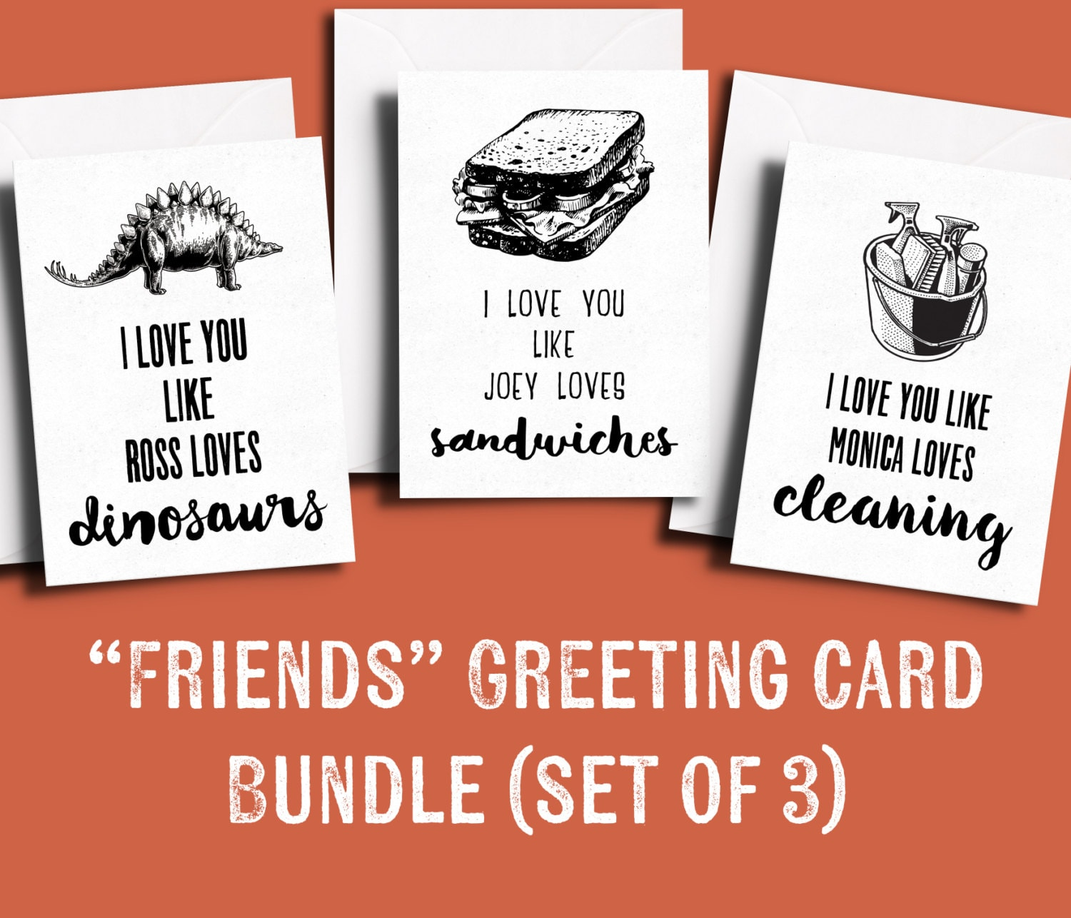 Friends TV Show Greeting Card BUNDLE Pack of 3 Friends themed