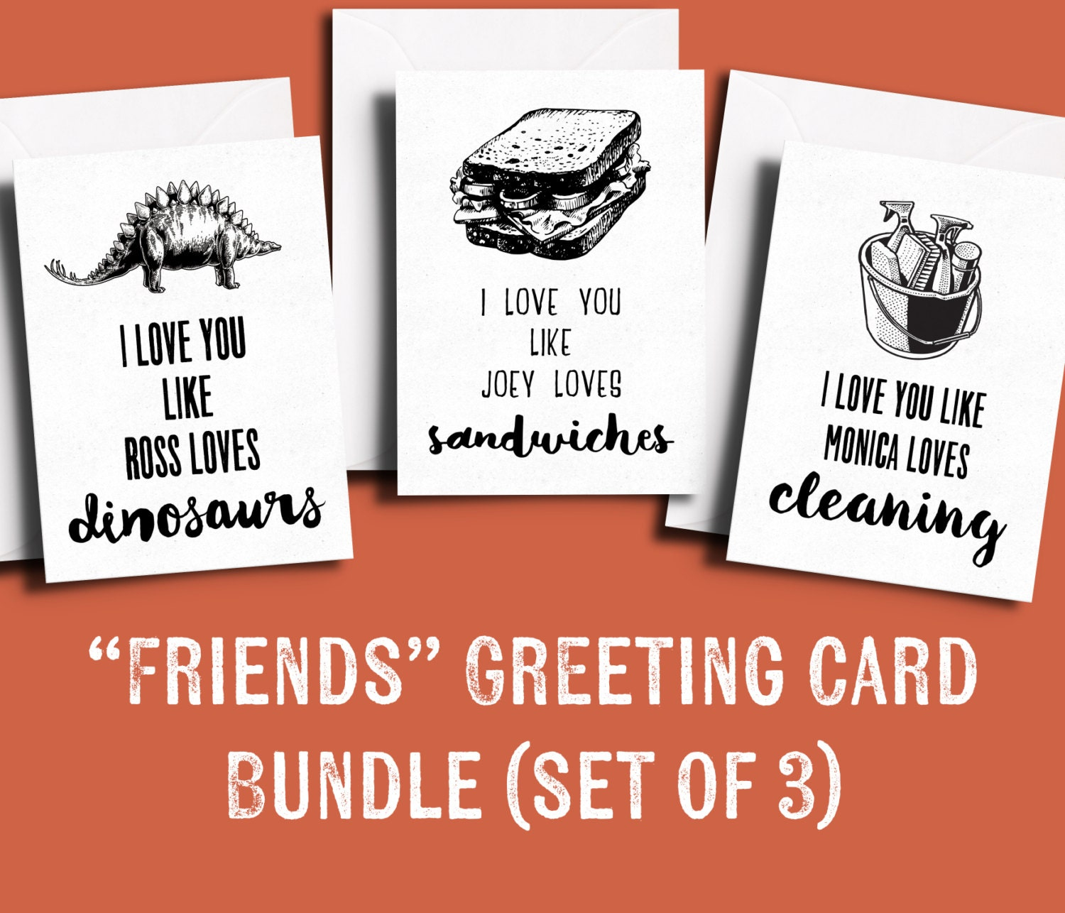 Friends tv show greeting card bundle pack of 3 friends themed zoom kristyandbryce Image collections