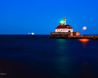 Blue Wall Art, Lake Decor, Serene Art, Minnesota, Calm Wall Art, Peaceful Wall Art, Lake Superior Art, Duluth Harbor, Duluth Lighthouse