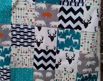 Baby Quilt -Baby Boy Quilt - Arrow Baby Quilt - Deer Baby Quilt - Bear quilt - Patchwork Baby Blanket - Deer Blanket