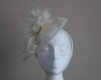 Ivory Cream Sinamay and Feather Fascinator on a hairband, races, weddings, special occasions