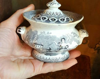 Antique Transferware Child's Tureen with Lid