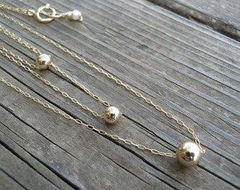 Gold Layer Necklace, Triple Tier Layered Gold Necklace, Three Tiny Gold Ball Necklaces, Layer Jewelry, Elegant Minimalist Bridal Necklace