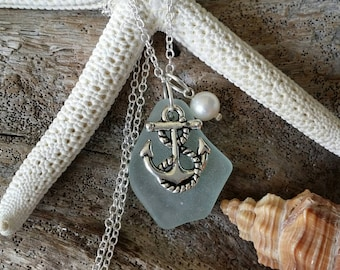 Handmade in Hawaii, Seafoam sea glass necklace, Anchor  charm, Freshwater pearl, Sterling silver chain, Hawaii beach jewelry gift