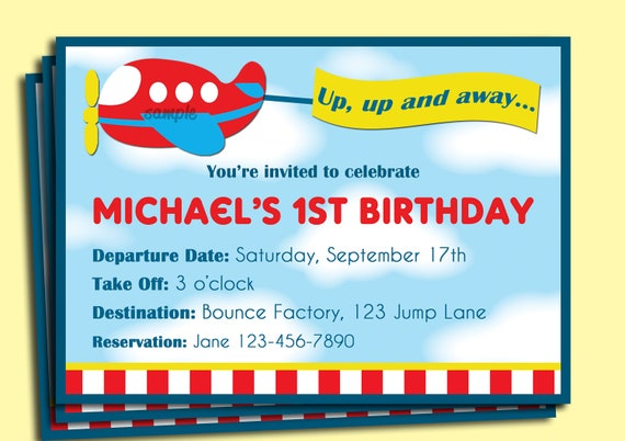 Airplane birthday invitation printable or printed with free filmwisefo