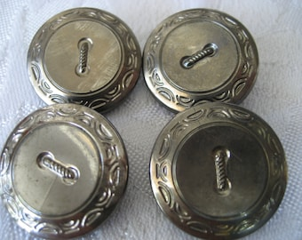 Set of 4 VINTAGE Button Hole Silver Luster Black Glass BUTTONS