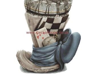 Alice in Wonderland Cross Stitch, Modern Counted Cross Stitch Kit By Omri Koresh, Chess fan, Mad Hatter, Hat, NeedleCraft Pattern,