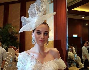 Bridal White wedding fascinator headpiece hats