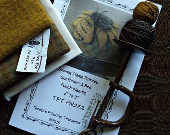 Punch Needle Kit Sewing Clamp Sunflower Bee