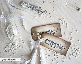 Champagne Tags - Rustic Cheers Tags, Prestrung with Raffia - 10 New Year Favor Tags - Boho Eco Friendly Wine Bottle Tags, Place Card Tags