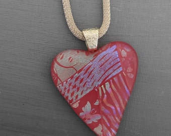 Pink Glass Heart Necklace, Fused Glass Heart Pendant, Patchwork Dichroic Fused Glass Heart Pendant - Pink Valentine Heart Necklace