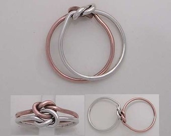 14k Rose Gold and Sterling Silver Love knot Ring.